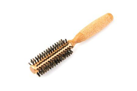 New modern wooden hairbrush isolated on white background. Stock Photo - 128399706
