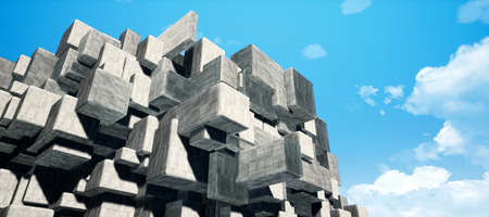 Abstract geometric cement/concrete cubes interior wall texture background