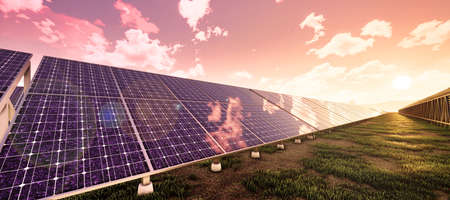 Closeup of colorful panoramic landscape: solar power plant (High-resolution 3D CG rendering illustration) Stock Photo