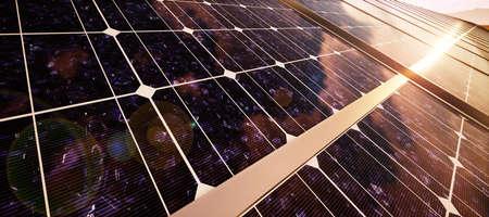 Closeup of colorful panoramic landscape: solar power plant (High-resolution 3D CG rendering illustration) Reklamní fotografie