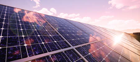 Closeup of colorful panoramic landscape: solar power plant (High-resolution 3D CG rendering illustration) Banco de Imagens