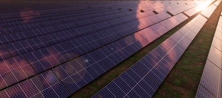 Closeup of colorful panoramic aerial landscape landscape: solar power plant (High-resolution 3D CG rendering illustration)