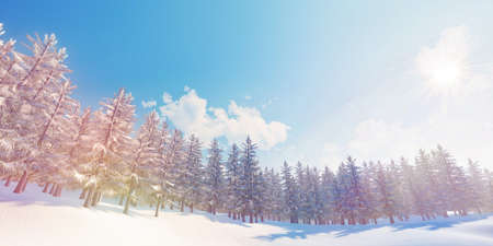 Closeup of colorful winter snowy forest background (High-resolution 3D CG rendering illustration)