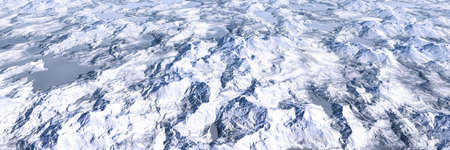 Colorful lake and mountains highlands landscape, panoramic aerial view of miniature world:snow mountain (High-resolution 3D CG rendering illustration) Stok Fotoğraf