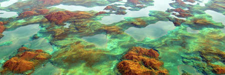 Colorful lake and mountains highlands landscape, panoramic aerial view of miniature world (High-resolution 3D CG rendering illustration) Banco de Imagens