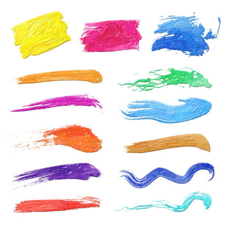 Colorful oil painting hand-painted art illustration : brush (High-resolution 2D CG illustration)