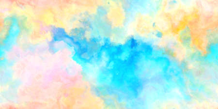 Closeup of colorful watercolor hand-painted art illustration : abstract art background (Tiles seamless, High-resolution 2D CG rendering illustration)