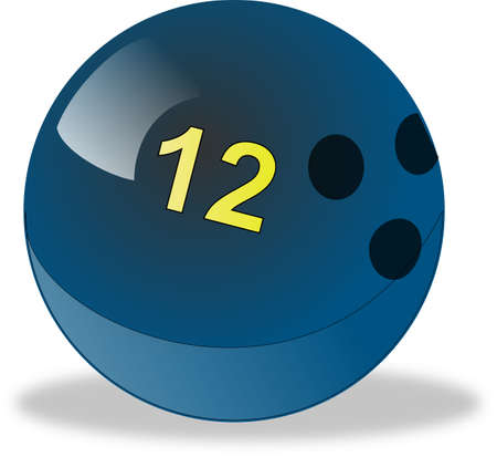 number 12: Blue bowling ball number 12