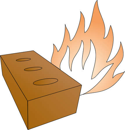 brick and fireflames