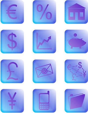purple financial icons and buttons