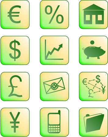 financial icons green