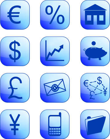 blue financial icons