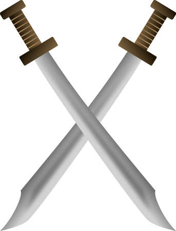 Medieval swords crossing