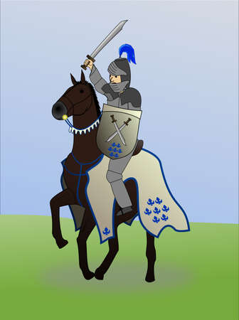 Medieval knight on the back of a horse