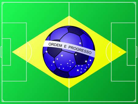 brasil: Brasil Brazil football flag with soccer field