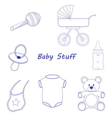 lineart: Baby Stuff blue line-art