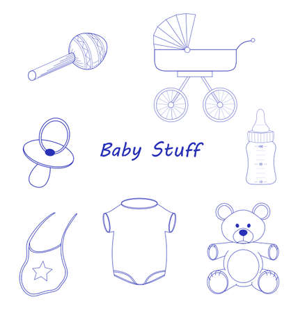 Baby Stuff blue line-art