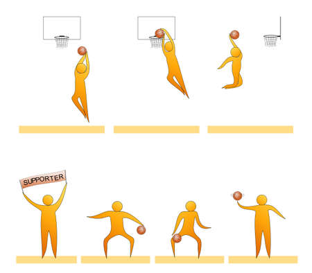Basketball human sport silhouettes Illustration