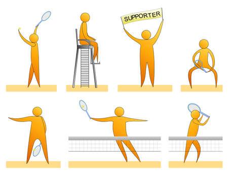 Human tennis silhouettes