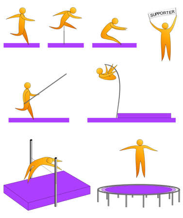 Silhouettes of humans jumping sport