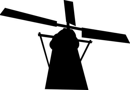 black mill silhouette Illustration