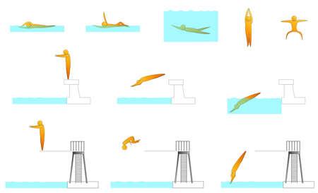 springboard: swimming human sport silhouettes Illustration