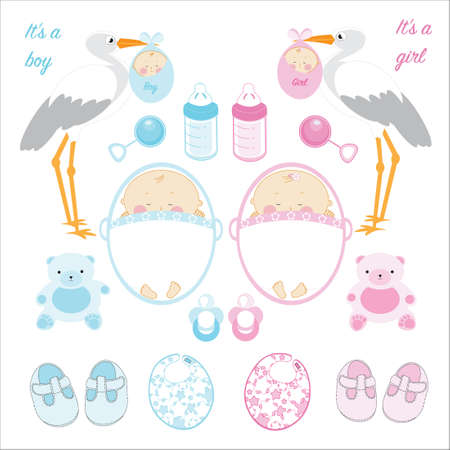 Twin baby boy and girl elements set.