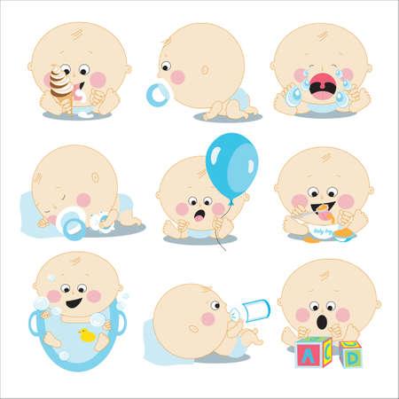 baby: Cute cartoon baby boy set.