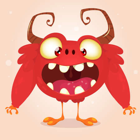 Happy cartoon monster. Vector mascot Vektoros illusztráció