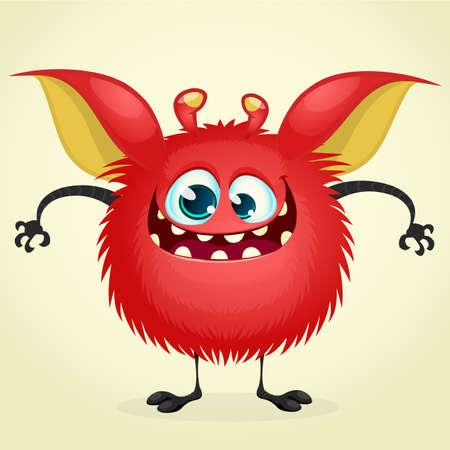 mutant: Happy cartoon monster. Vector character