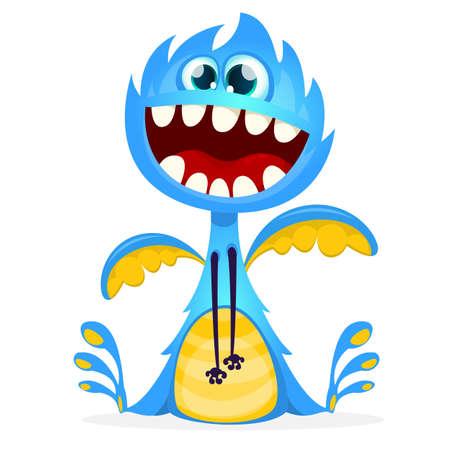 Happy cartoon monster. Vector dragon character