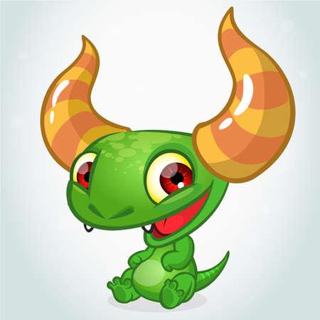 Cute cartoon monster dragon. Vector  character