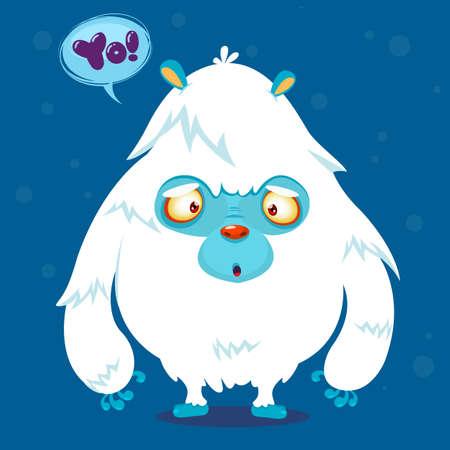 alien face: Cute cartoon monster. Vector bigfoot character