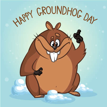 Groundhog. Vector illustration. Can be used in web design, printed on fabric paper, as a background, or as an element in a composition or as Groundhog day gift card