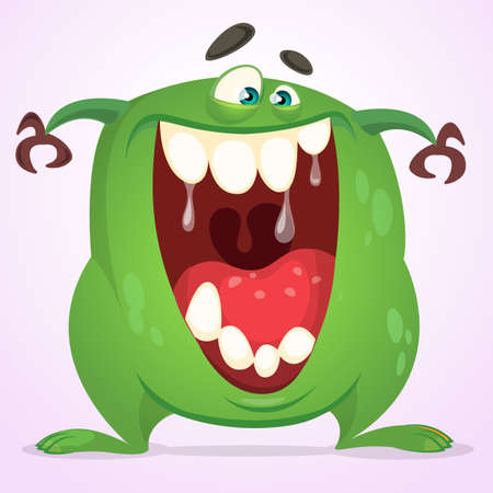 Green slimy monster with big teeth and mouth opened wide. Halloween vector monster character. Cartoon alien mascot isolated on white