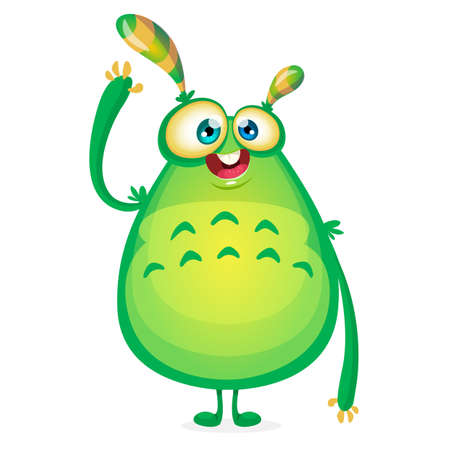 slimy: Vector cartoon alien says Hallo. Green slimy alien monster with tentacles. Happy Halloween green monster waving. Monster character icon great for animation. Fat green and yellow monster. Illustration
