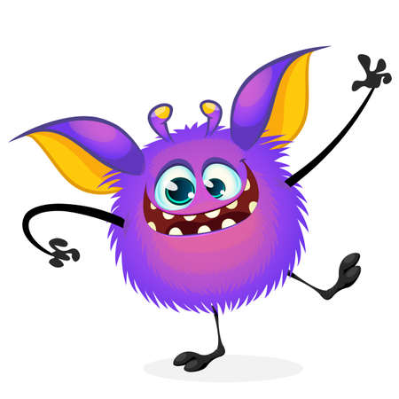 Vector cartoon Halloween monster waving. Furry purple round shaped monster with big ears dancing. Monster game character