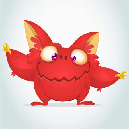 creepy alien: Vector cartoon red monster with big ears. Halloween fluffy red monster waving his hands. Monster game character Illustration