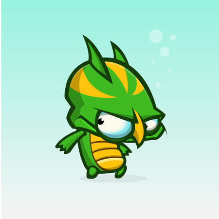 slimy: Vector cartoon slimy green and yellow monster. Halloween vector monster character isolated
