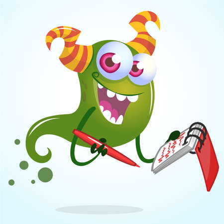 horned: Cute cartoon green horned ghost with pen and notebook. Vector  character