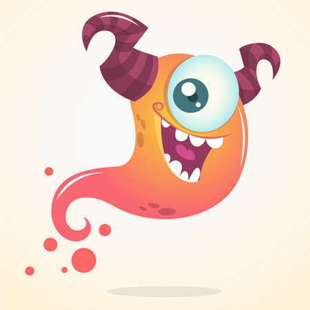 one eye: Cute cartoon pink ghost with two horns and one eye. Vector Halloween character