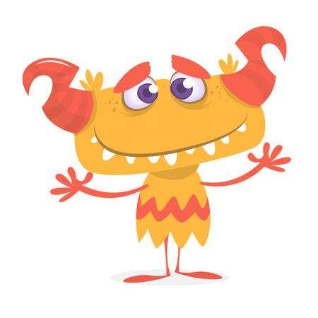 horned: Happy orange monster. Vector Halloween horned monster character mascot
