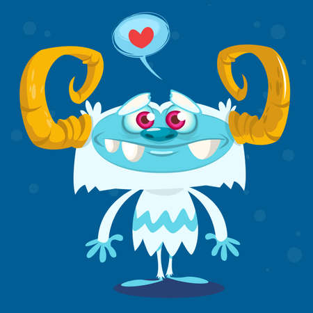 white fur: Happy cartoon bigfoot in love. Halloween vector yeti character with white fur and horns isolated on blue background