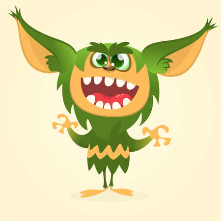 gremlin: Happy cartoon gremlin monster. Halloween vector goblin or troll with green fur and big ears