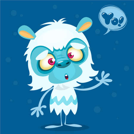 white fur: Happy cartoon bigfoot with speech bubble. Halloween vector yeti character with white fur and horns isolated on blue background