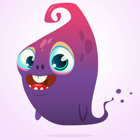 Happy cartoon pink and blue ghost. Vector Halloween monster character isolated