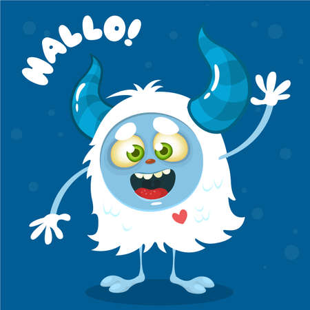 Cute cartoon monster. Vector Halloween  bigfoot character waving