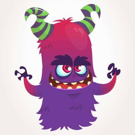 Cute cartoon purple horned monster . Halloween vector flying monster mascot