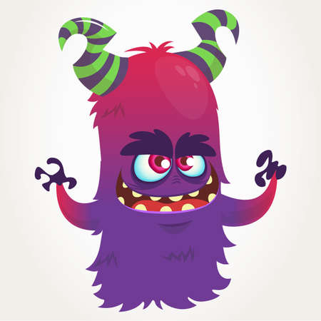 Cute cartoon purple horned monster . Halloween vector flying monster mascot