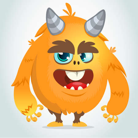 Vector cartoon of an orange fat and fluffy Halloween monster.Isolated Illustration